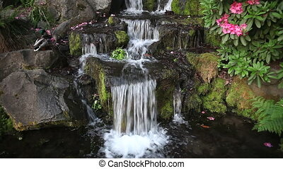 wodospad, w, podwórze, ogród, 1080p