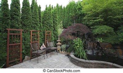 wodospad, w, podwórze, patio, 1080p