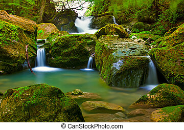 wodospad, zielony, natura