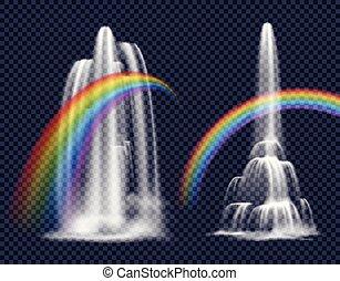 wodospady, i, tęcze, dekoracyjne elementy