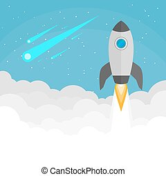 wodowanie, rakieta, tło, przestrzeń
