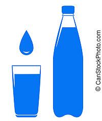 wodowskaz, spadanie, kropla, butelka