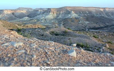 woestijn, ondergaande zon , op, negev woestijn, israël
