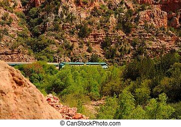 woestijn, spoorweg, trein