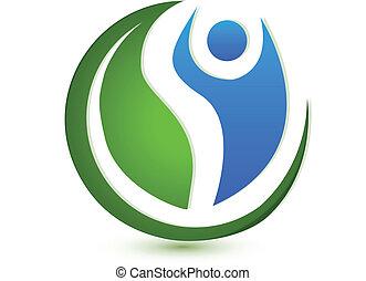 wohlfühlen, begriff, logo