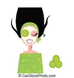 wohlfühlen, frau, mit, maske gesichts, &, gurke, grün