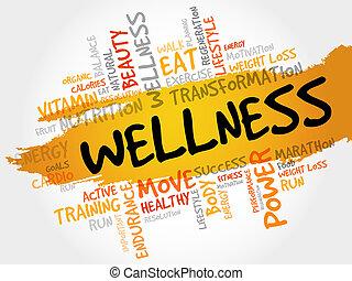 wohlfühlen, wort, wolke, fitness