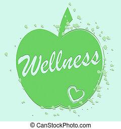 wohlfühlen, zeigt, gesundheit, äpfel, medizinprodukt,...