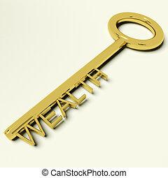 wohlstand, reichtum, gold, reichtümer, schlüssel, darstellen