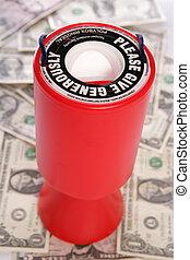 wohltätigkeit, sammlung, mit, amerikanische dollar