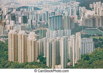 wohngebiet, in, hongkong