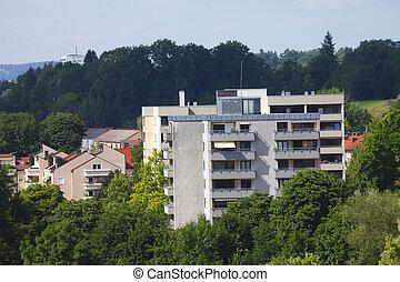 Wohnhäuser, Kempten, Allgäu, Bayern, Deutschland, Europa
