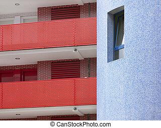 wohnhaeuser, gebäude- detail, in, rotes , blau, ton