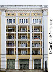 wohnhaeuser, gebäude, mit, balkons