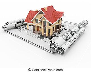 wohnhaeuser, haus, auf, architekt, blueprints., gehäuse,...