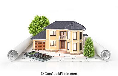 wohnhaeuser, haus, mit, werkzeuge, auf, architekt, blueprints., gehäuse, project., 3d, abbildung