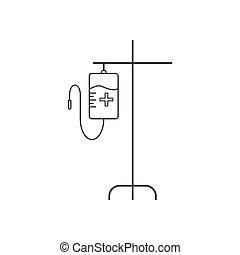 wohnung, abbildung, iv sack, vektor, icon., design.