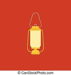 wohnung, abbildung, lampe, vektor, design, retro, ikone
