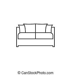 wohnung, abbildung, sofa, -, vektor, icon., design.