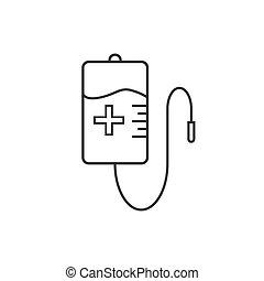 wohnung, abbildung, tasche, vektor, blut, icon., design.