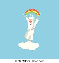 wohnung, badge., buch, schaffen, karte, gott, schöpfer, zeichen, abbildung, karikatur, oder, vektor, rainbow., plakat, aktiv, cloud., lächeln, religiöses, weißes