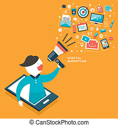 wohnung, begriff, design, digital, marketing