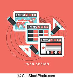 wohnung, begriff, design, f, web