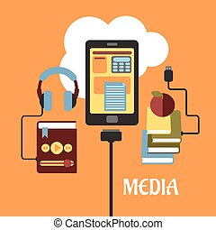 wohnung, begriff, multimedia