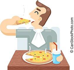 wohnung, begriff, symbol, freigestellt, abbildung, vektor, design, pizza, ikone, essen, mann