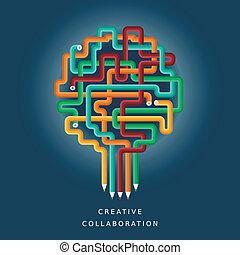 wohnung, begriff, zusammenarbeit, abbildung, kreativ, design