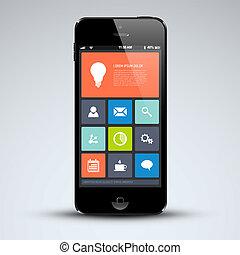 wohnung, beweglich, modern, telefon, benutzerschnittstelle
