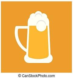 wohnung, bier, weißes, abbildung, glas