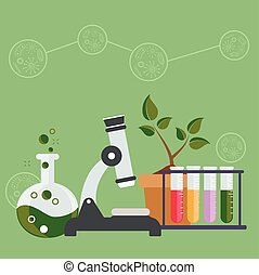 wohnung, biologie, illustration., wissenschaft, concept., ausrüstung, vektor, design, arbeitsbereich, laboratorium