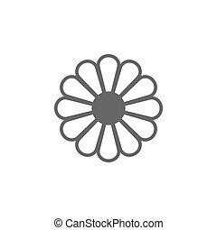 wohnung, blume, abbildung, freigestellt, vektor, hintergrund, icon., weißes, design.