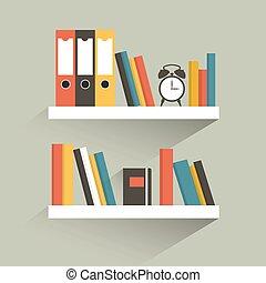 wohnung, buch, shelf., vector., design.