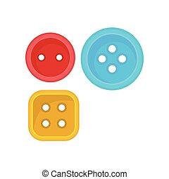 wohnung, button., quadrat, basteln, plakat, nähen, zwei, eins, accessories., vektor, elemente, runder , kaufmannsladen, kleidung