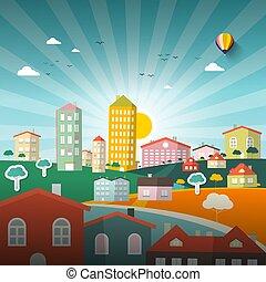 wohnung, city., town., abstrakt, vektor, design