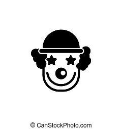 wohnung, clown, heiter, vektor, lächeln, ikone