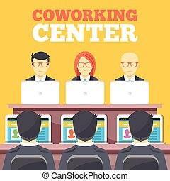 wohnung, coworking, zentrieren, abbildung