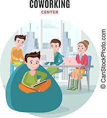 wohnung, coworking, zentrieren, zusammensetzung