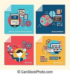 wohnung, design, begriff, abbildung, für, netz- design, und, entwicklung