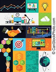 wohnung, design, infographic, symbole, -, überlagert, vektor, abbildung, mit, design, symbole, und, icons.