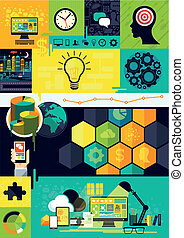 wohnung, design, infographic, symbole