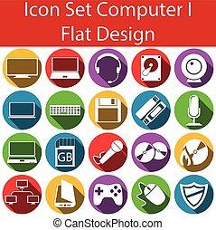 wohnung, design, satz, computerikon