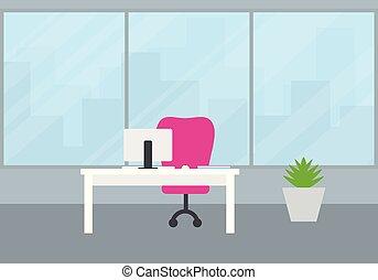 wohnung, design, von, ein, buero, mit, a, ansicht, von, stadt, hinten, a, groß, fenster, a, weißes, buero, mit, a, edv, a, tastatur, und, a, maus, und, a, rotes , chair., stehende , blumentopf, mit, grün, plant.