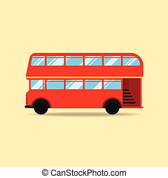 wohnung, doppelgänger, abbildung, decker, vektor, design, bus