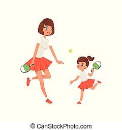 wohnung, draußen, töchterchen, sportliche , sie, pong., family., concept., ping, spielende , heiter, mutterschaft, vektor, design, mutti, mutter, sportswear., m�dchen, activity.