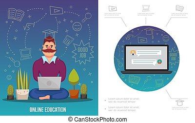 wohnung, e-lernen, infographic, schablone