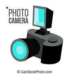 wohnung, einfache , foto, freigestellt, abbildung, fotoapperat, vector., icon., karikatur