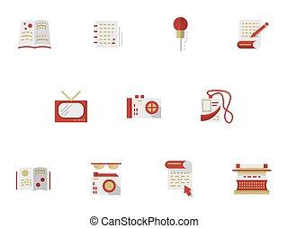 wohnung, einfache , vektor, heiligenbilder, für, medien, publishing.